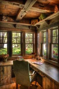 writers desk in cabin